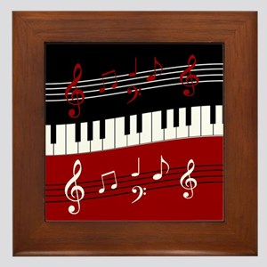 Stylish Piano keys and musical notes Framed Tile