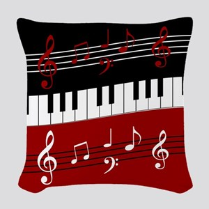 Stylish Piano keys and musical Woven Throw Pillow