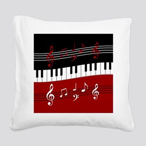 Stylish Piano keys and musica Square Canvas Pillow