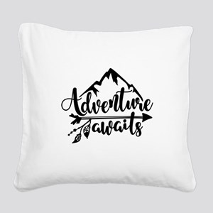 Adventure Awaits Square Canvas Pillow