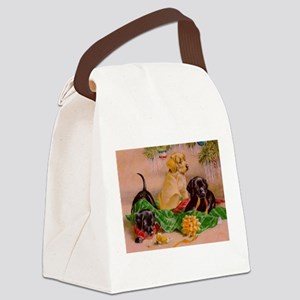 Christmas Puppies Canvas Lunch Bag