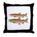 Pacific Coho Salmon fish couple Throw Pillow