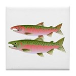 Pacific Coho Salmon fish couple Tile Coaster