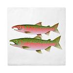 Pacific Coho Salmon fish couple Queen Duvet