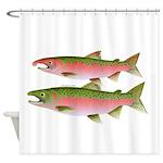 Pacific Coho Salmon fish couple Shower Curtain