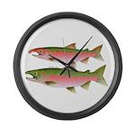 Pacific Coho Salmon fish couple Large Wall Clock