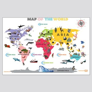 Interactive World Map For Kids- White and Bright P