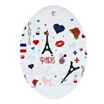 Paris pattern with Eiffel Tower Ornament (Oval)