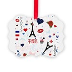 Paris pattern with Eiffel Tower Picture Ornament