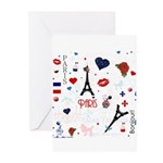 Paris pattern with Eiffel Tower Greeting Cards (Pk