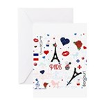 Paris pattern with Eiffel Tower Greeting Card