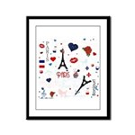 Paris pattern with Eiffel Tower Framed Panel Print
