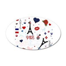 Paris pattern with Eiffel Tower Wall Sticker