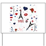 Paris pattern with Eiffel Tower Yard Sign