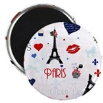 Paris pattern with Eiffel Tower Magnet