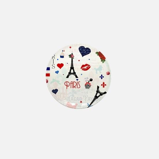 Paris pattern with Eiffel Tower Mini Button