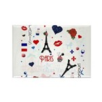 Paris pattern with Eiffel Tower Rectangle Magnet (