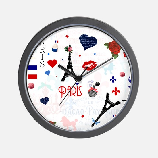 Paris pattern with Eiffel Tower Wall Clock