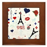 Paris pattern with Eiffel Tower Framed Tile