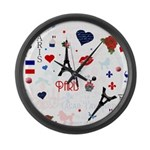 Paris pattern with Eiffel Tower Large Wall Clock