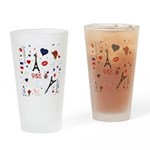 Paris pattern with Eiffel Tower Drinking Glass