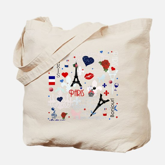 Paris pattern with Eiffel Tower Tote Bag