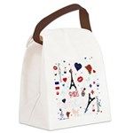 Paris pattern with Eiffel Tower Canvas Lunch Bag