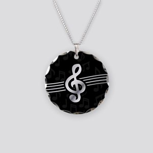 Stylish clef on musical note Necklace Circle Charm
