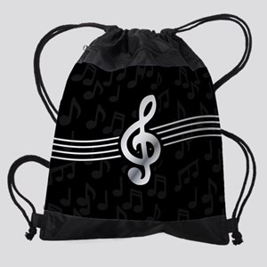 Stylish clef on musical note backgr Drawstring Bag