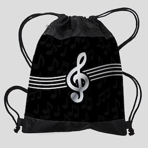 7db2e3c7b057 Stylish clef on musical note backgr Drawstring Bag