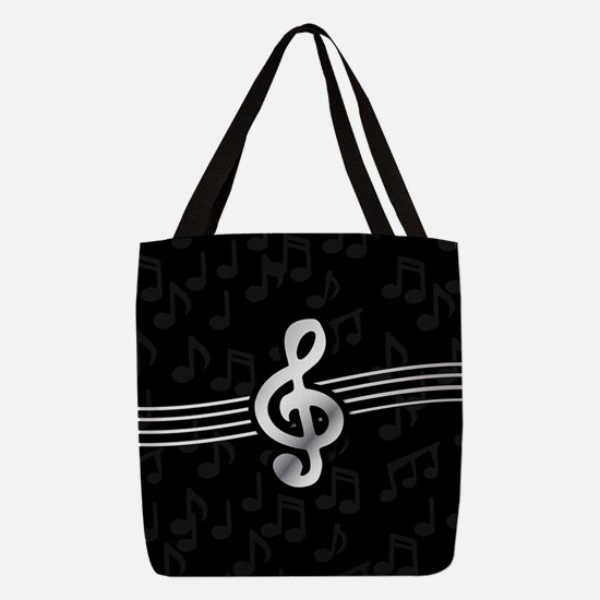 Stylish clef on musical note ba Polyester Tote Bag
