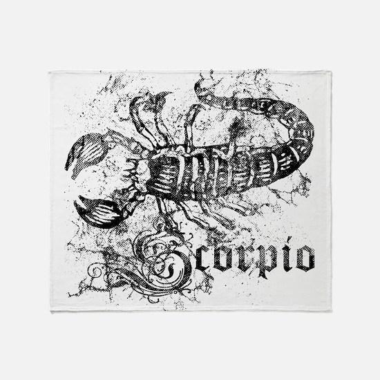 Worn Zodiac Scorpio Throw Blanket