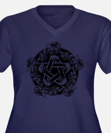 Pentacle With Roses Women's Plus Size V-Neck Dark