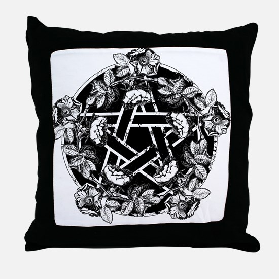 Pentacle With Roses Throw Pillow