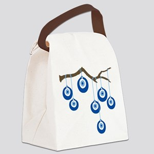 Blue Eye Amulets On Branch Canvas Lunch Bag
