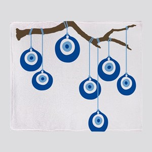 Blue Eye Amulets On Branch Throw Blanket