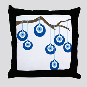 Blue Eye Amulets On Branch Throw Pillow