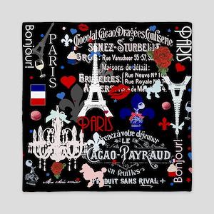 Paris pattern with Eiffel Tower Queen Duvet