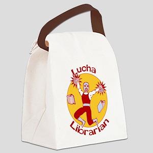 Lucha Librarian Canvas Lunch Bag