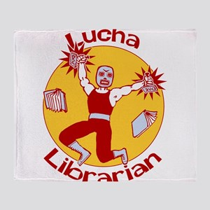 Lucha Librarian Throw Blanket