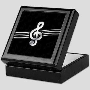 Stylish clef on musical note backgrou Keepsake Box