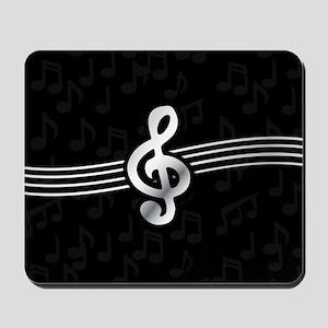 Stylish clef on musical note background Mousepad