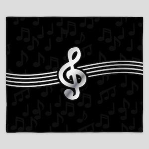 Stylish clef on musical note background King Duvet