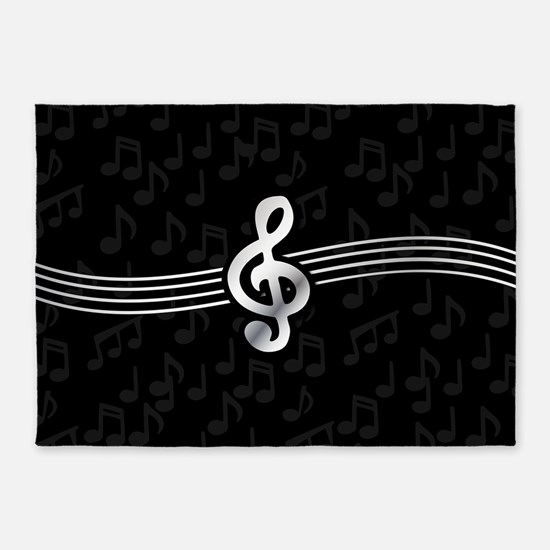 Stylish clef on musical note backgr 5'x7'Area Rug