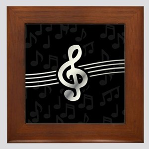 Stylish clef on musical note backgroun Framed Tile