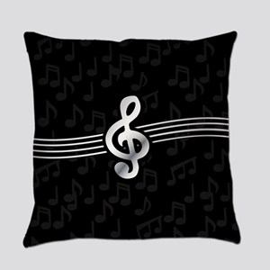 Stylish clef on musical note backg Everyday Pillow