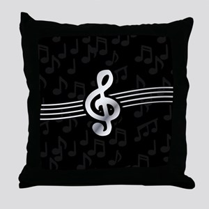 Stylish clef on musical note backgrou Throw Pillow