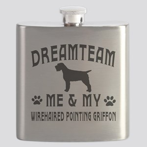 Wirehaired Pointing Griffon Dog Designs Flask