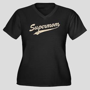 Vintage Super Mom Women's Plus Size V-Neck Dark T-