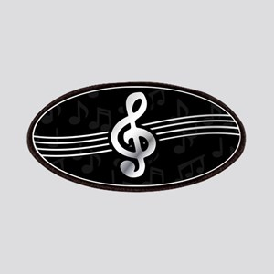 Stylish clef on musical note background Patch
